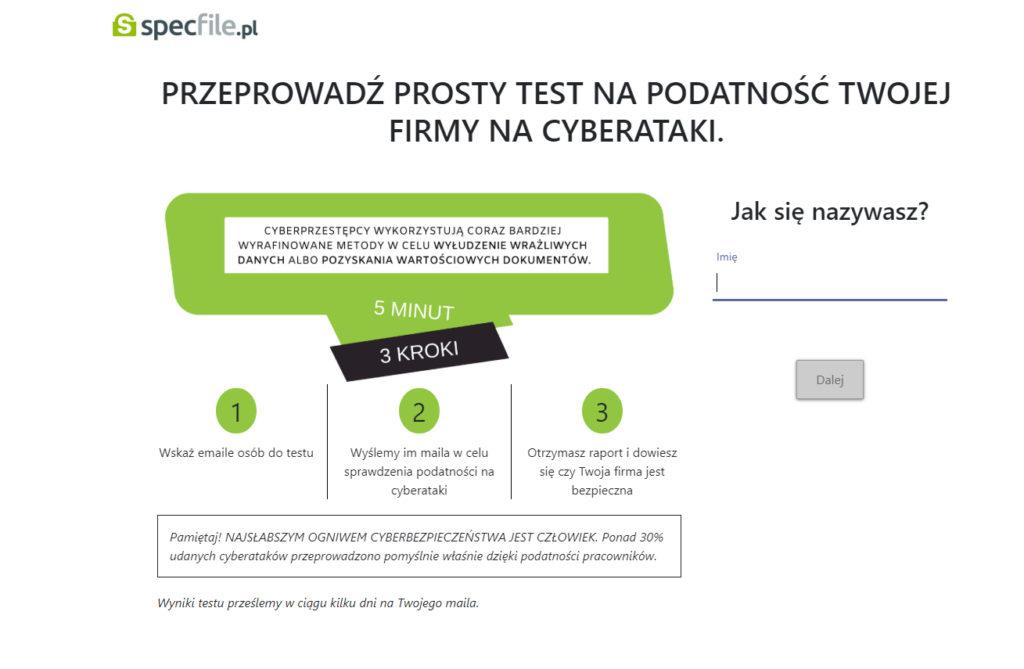 zrzut ekranu testu bezpieczeństwa